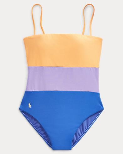 폴로 랄프로렌 Polo Ralph Lauren Color-Block Lace-Up-Back Suit,Multi
