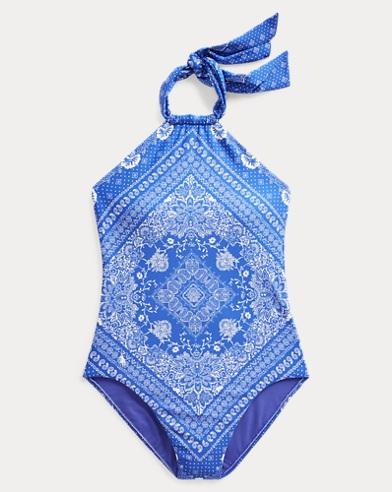 폴로 랄프로렌 Polo Ralph Lauren Bandanna-Print One-Piece Suit,Blue