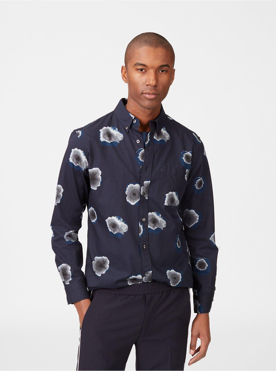 클럽 모나코 맨 슬림 모닝글로리 셔츠 - 미드나잇 Club Monaco Slim Morning Glory Shirt,Midnight Multi