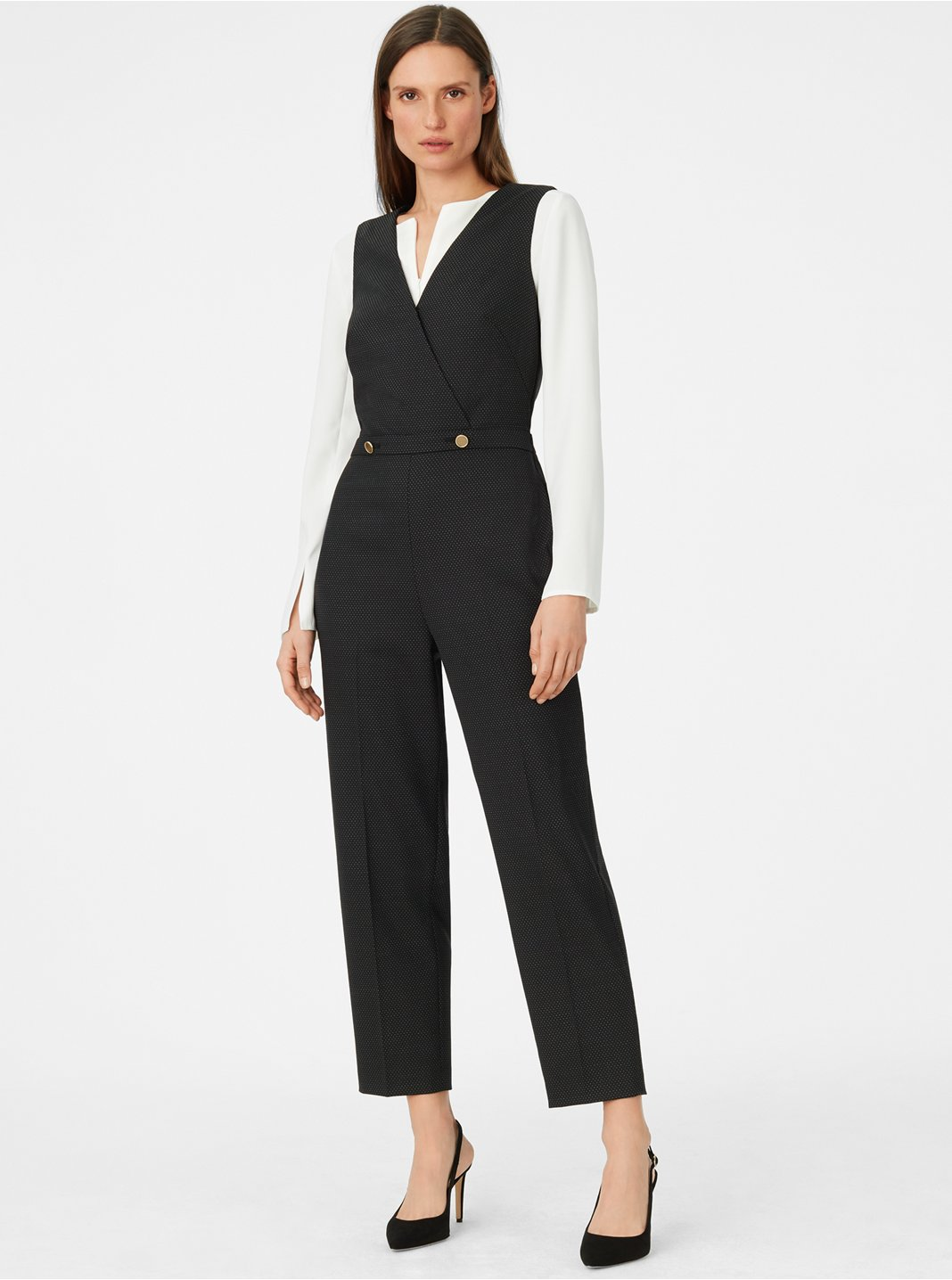 클럽 모나코 Dorotheah 핀 도트 점프수트 Club Monaco Dorotheah Pin-Dot Jumpsuit,Black/White
