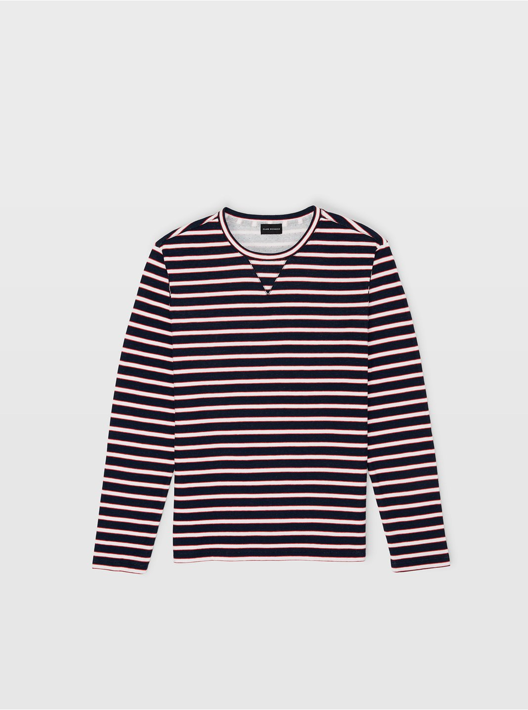 클럽 모나코 맨 Breton 스트라이프 긴팔 티셔츠 Club Monaco Breton Stripe Duofold Tee,Navy Multi