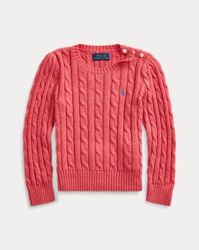 폴로 랄프로렌 여아용 스웨터 Polo Ralph Lauren Cable-Knit Cotton Sweater,Geranium Heather