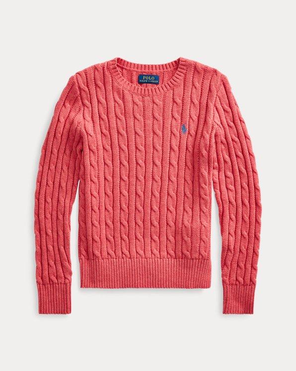 폴로 랄프로렌 걸즈 스웨터 Polo Ralph Lauren Cable-Knit Cotton Sweater,Geranium Heather