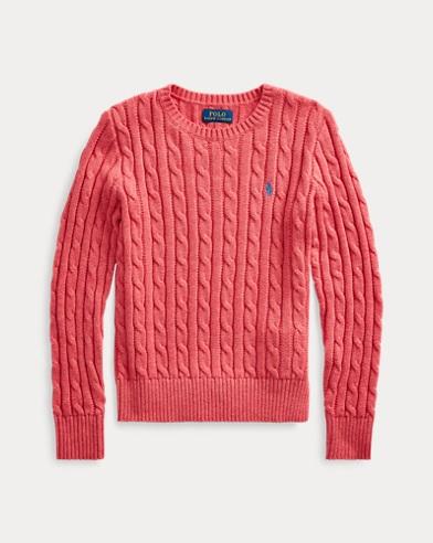 폴로 랄프로렌 걸즈 꽈배기 코튼 스웨터 - 제라늄 Polo Ralph Lauren Cable-Knit Cotton Sweater 507708