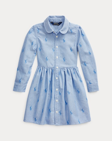 폴로 랄프로렌 여아용 원피스 Polo Ralph Lauren Pony Cotton Shirtdress,Oxford Blue