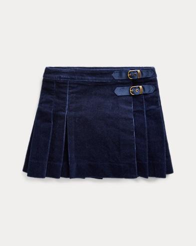 폴로 랄프로렌 Polo Ralph Lauren Pleated Corduroy Wrap Skirt,French Navy
