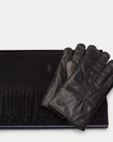 폴로 랄프로렌 Polo Ralph Lauren Cashmere Scarf & Glove Set,Black
