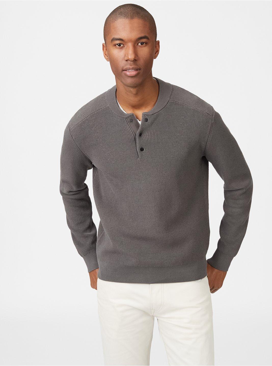 클럽 모나코 Club Monaco Baseball Collar Sweater,Smoke