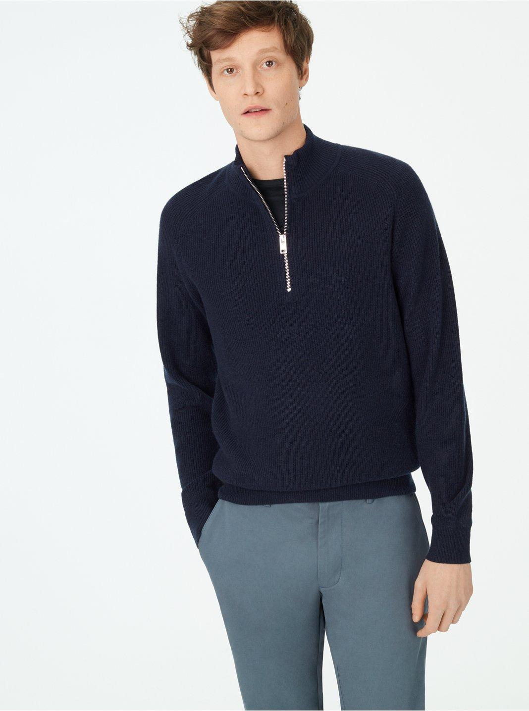 클럽 모나코 Club Monaco Cashmere Quarter-Zip Sweater,Navy