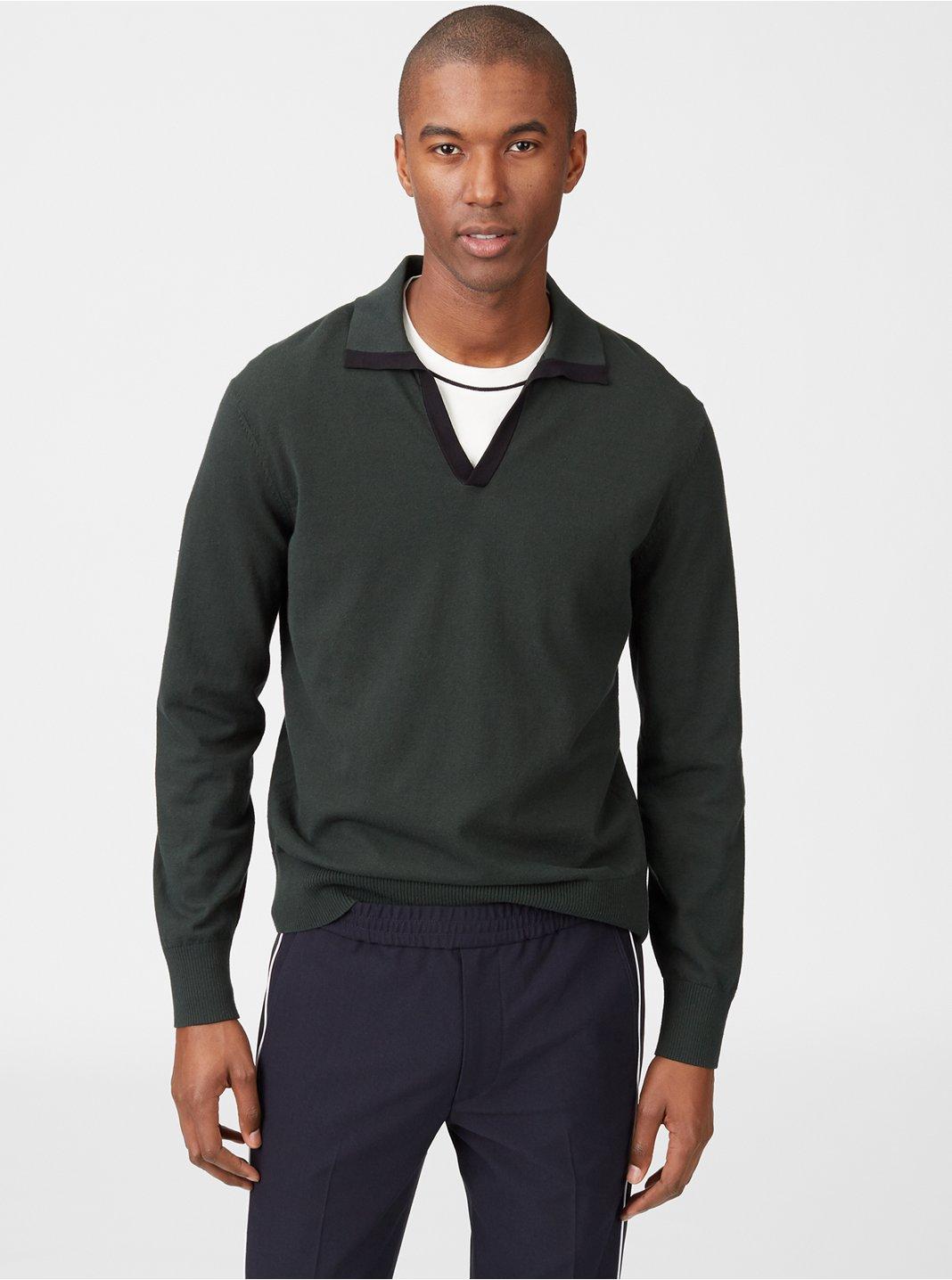 클럽 모나코 Club Monaco Johnny Collar Sweater,Green