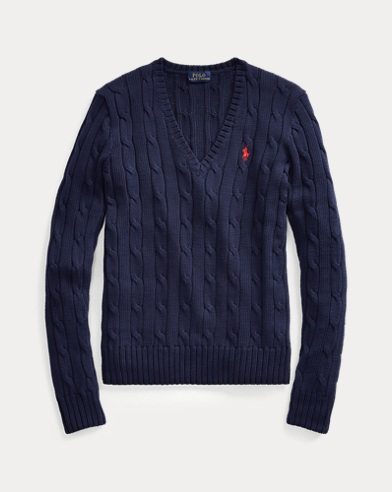 폴로 랄프로렌 우먼 꽈배기 니트 브이넥 스웨터 - 네이비 Polo Ralph Lauren Cable-Knit V-Neck Sweater