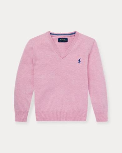 폴로 랄프로렌 Polo Ralph Lauren Cotton V-Neck Sweater,Hampton Pink Heather