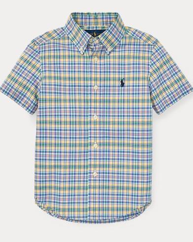 폴로 랄프로렌 셔츠 Polo Ralph Lauren Plaid Cotton Poplin Shirt,Yellow Multi