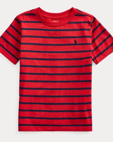 폴로 랄프로렌 Polo Ralph Lauren Striped Cotton-Blend Tee,Rl2000 Red Multi
