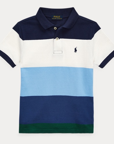 폴로 랄프로렌 남아용 스트라이프 반팔 폴로셔츠 Polo Ralph Lauren Striped Cotton Mesh Polo Shirt,Newport Navy Multi