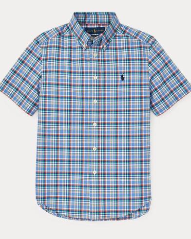 폴로 랄프로렌 Polo Ralph Lauren Plaid Cotton Poplin Shirt,Blue Multi