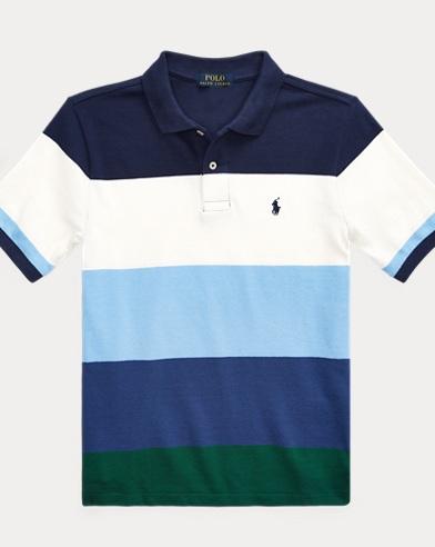 폴로 랄프로렌 Polo Ralph Lauren Striped Cotton Mesh Polo Shirt,Newport Navy Multi