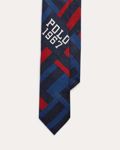 폴로 랄프로렌 Polo Ralph Lauren Patchwork Silk Narrow Tie,Navy/Royal/Red