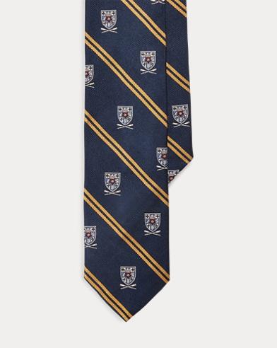 폴로 랄프로렌 Polo Ralph Lauren Striped Silk Narrow Club Tie,Navy/Gold