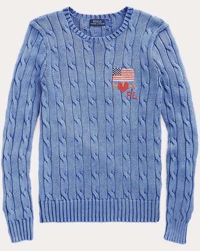 폴로 랄프로렌 스웨터 Polo Ralph Lauren Needlepoint Cable-Knit Sweater,Maidstone Blue