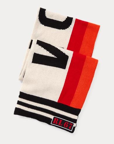 폴로 랄프로렌 Polo Ralph Lauren Stadium Wool-Blend Scarf,Black/Red/Cream