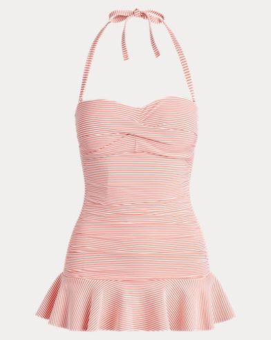 폴로 랄프로렌 Polo Ralph Lauren Slimming Seersucker Swimsuit,Coral Reef