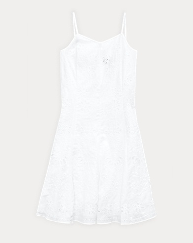 폴로 랄프로렌 Polo Ralph Lauren Eyelet Cotton Dress,White