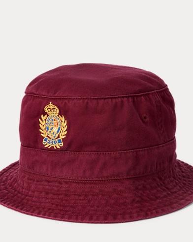 폴로 랄프로렌 Polo Ralph Lauren Crest Cotton Twill Bucket Hat,Classic Wine