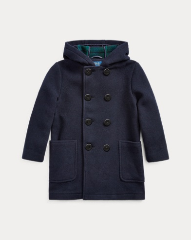 폴로 랄프로렌 Polo Ralph Lauren Wool-Blend Hooded Peacoat,Navy/Blackwatch