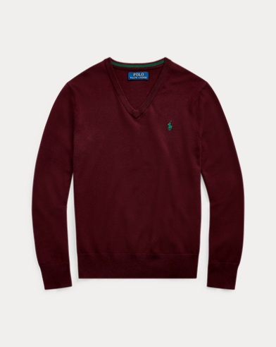 폴로 랄프로렌 보이즈 스웨터 Polo Ralph Lauren Cotton V-Neck Sweater,Aged Wine Heather