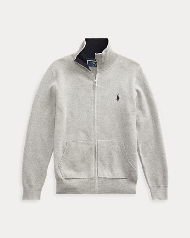 폴로 랄프로렌 보이즈 스웨터 Polo Ralph Lauren Cotton Full-Zip Sweater,Dark Sport Heather
