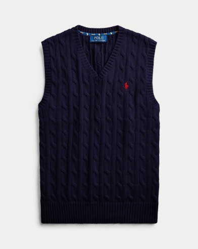 폴로 랄프로렌 보이즈 베스트 Polo Ralph Lauren Cable-Knit Cotton Sweater Vest,RL Navy