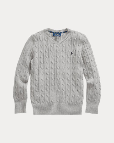 폴로 랄프로렌 보이즈 스웨터 Polo Ralph Lauren Cable-Knit Cotton Sweater,Dark Sport Heather