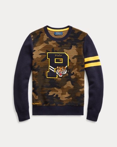 폴로 랄프로렌 보이즈 스웨터 Polo Ralph Lauren Camo Cotton Letterman Sweater,Camo Multi
