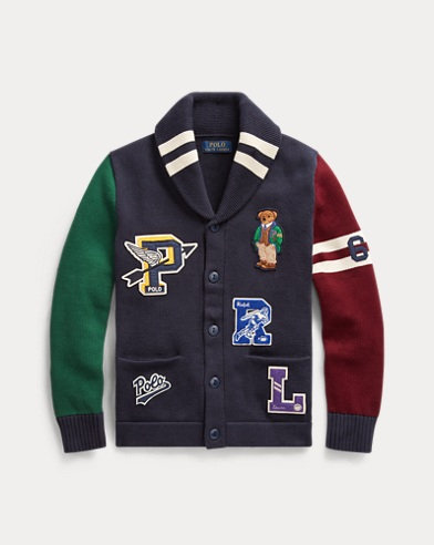 폴로 랄프로렌 보이즈 가디건 Polo Ralph Lauren Polo Bear Cotton Cardigan,RL Navy Multi