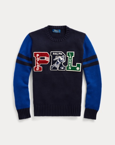 폴로 랄프로렌 Polo Ralph Lauren PRL Cotton Letterman Sweater,RL Navy Multi