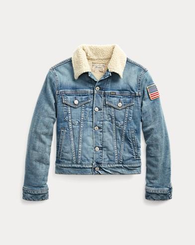 폴로 랄프로렌 보이즈 자켓 Polo Ralph Lauren Fleece-Lined Trucker Jacket,Bassett Sherpa Wash