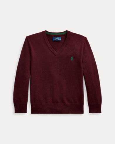폴로 랄프로렌 남아용 브이넥 스웨터 Polo Ralph Lauren Cotton V-Neck Sweater,Aged Wine Heather