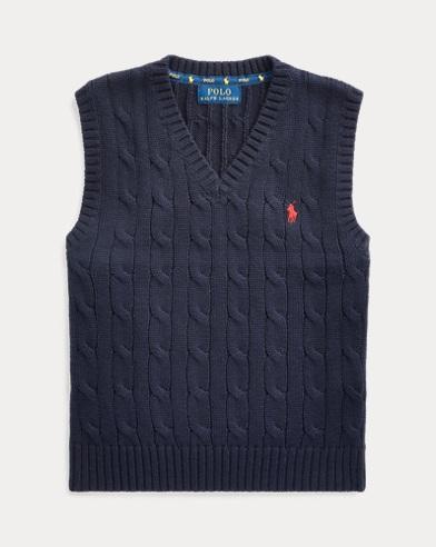 폴로 랄프로렌 남아용 스웨터 Polo Ralph Lauren Cable-Knit Cotton Sweater Vest,RL Navy