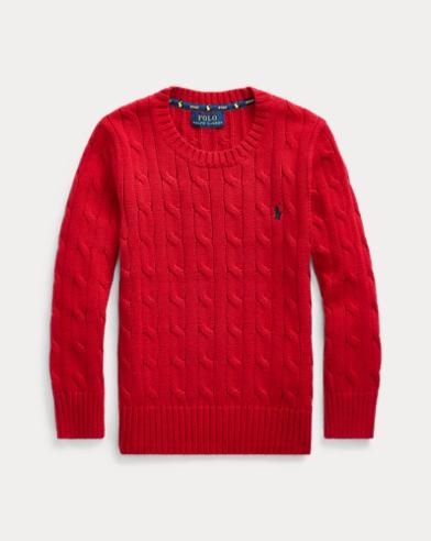 폴로 랄프로렌 남아용 꽈배기 코튼 스웨터 - 네이비 Polo Ralph Lauren Cable-Knit Cotton Sweater