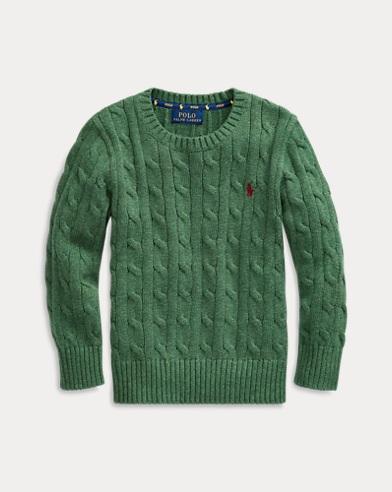 폴로 랄프로렌 Polo Ralph Lauren Cable-Knit Cotton Sweater,Green Heather