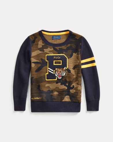 폴로 랄프로렌 남아용 스웨터 Polo Ralph Lauren Camo Cotton Letterman Sweater,Camo Multi