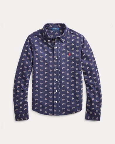 폴로 랄프로렌 보이즈 셔츠 Polo Ralph Lauren Bike-Print Knit Oxford Shirt,Navy