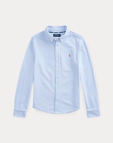폴로 랄프로렌 보이즈 셔츠 Polo Ralph Lauren Knit Cotton Oxford Shirt,Harbor Island Blue Multi