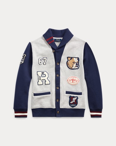 폴로 랄프로렌 보이즈 가디건 Polo Ralph Lauren Fleece Letterman Cardigan,Light Grey Heather