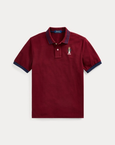 폴로 랄프로렌 보이즈 메쉬 폴로 셔츠 Polo Ralph Lauren Football Bear Cotton Mesh Polo,Classic Wine