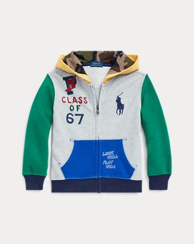 폴로 랄프로렌 남아용 후드 티셔츠 Polo Ralph Lauren Color-Blocked Cotton Hoodie,Light Grey Heather