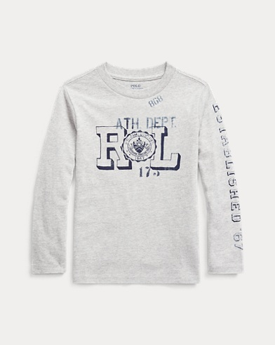 폴로 랄프로렌 남아용 티셔츠 Polo Ralph Lauren Cotton Jersey Graphic Tee,Lt Grey Heather