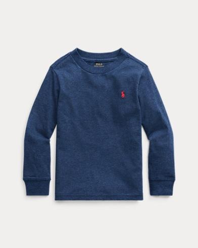 폴로 랄프로렌 남아용 포니 자수 긴팔 티셔츠 - 네이비 Polo Ralph Lauren Cotton Jersey Long-Sleeve Tee,Basic Navy Heather