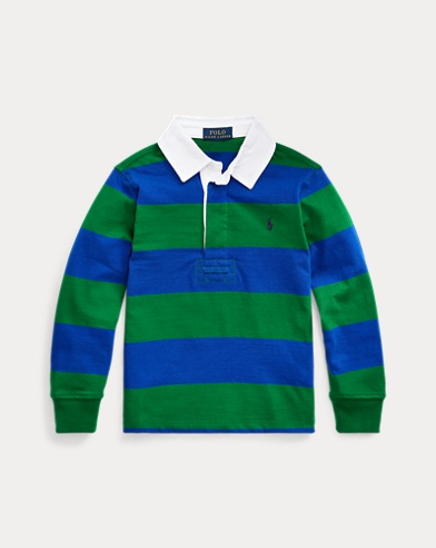 폴로 랄프로렌 남아용 럭비 셔츠 Polo Ralph Lauren Striped Cotton Rugby Shirt,Athletic Green